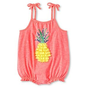Cherokee Infant Baby Girls Ruffle Pineapple Retro Pink Summer Beach