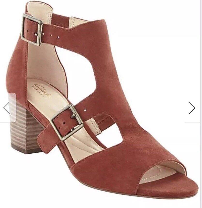 Ladies Clarks Deloria Kay Caged Sandals Mahogany Size UK 5D