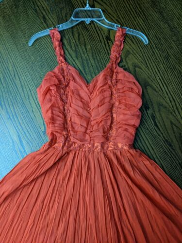 Vtg 40s Nightgown sz 38 nylon sheer peignoir lace