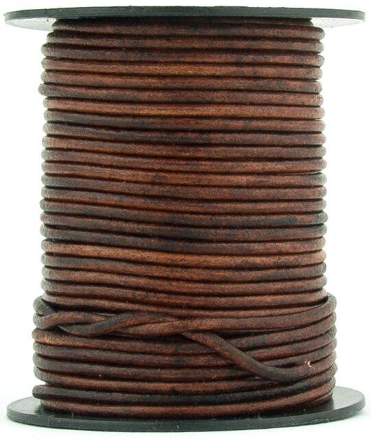 2mm Antique Brown Leather Cord 10 Yards Distressed Dark Brown