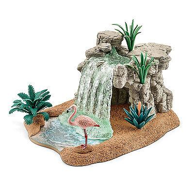 Schleich 42257 Waterfall Diorama Animal Model Toy Habitat Flamingo 2016 - NIB