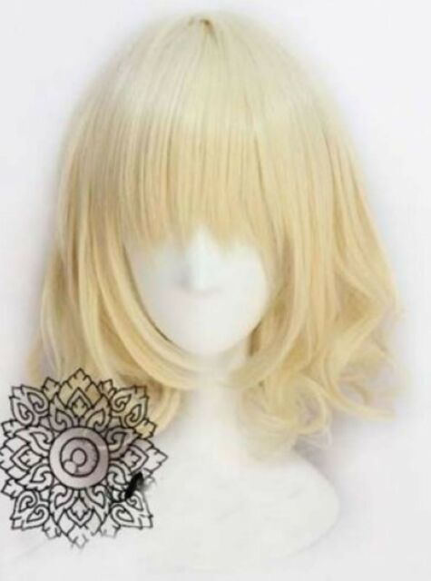 Short Milk Blonde Wavy Cosplay Wig  Free shipping