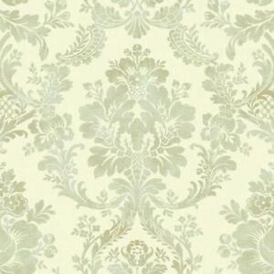 Wallpaper-Designer-Normandy-Manor-Large-Aqua-Taupe-Damask-on-Cream-Faux