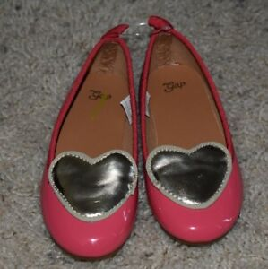 f7ac44e9d Baby Gap Girl's Paradise Pink Gold Heart Loafer Flat Shoes Size 7 ...