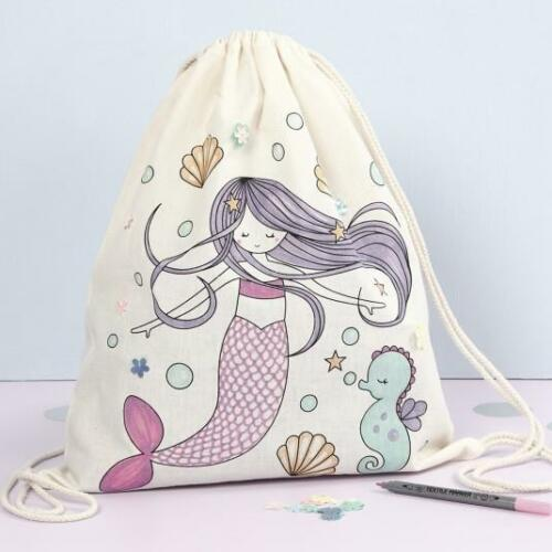 Colour In with 6 Fabric Pens Childrens Craft Set Childrens Mermaid Bag