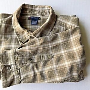 Brown-Men-039-s-XL-Cotton-Long-Sleeved-Plaid-Shirt-Gently-Used