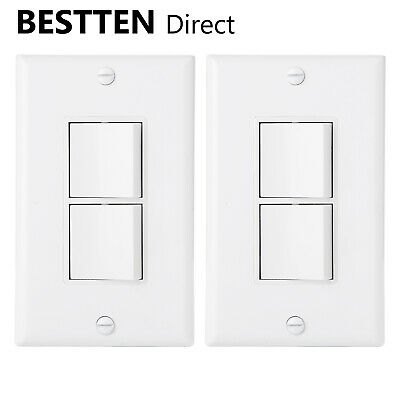 Rocker Light Switch >> 2pk Bestten Double On Off Rocker Light Switch Single Pole 120 277v W Wallplate Ebay
