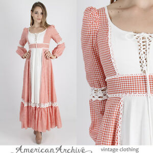 vintage 70s gunne sax dress boho hippie gingham crochet