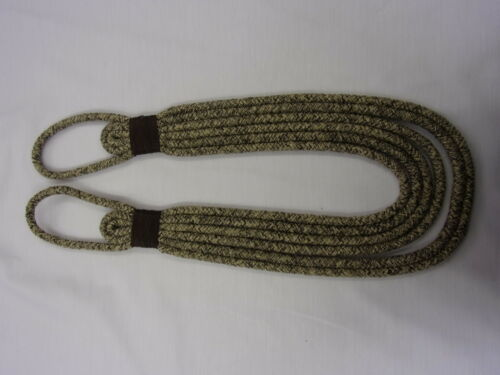 STUNNING LARGE THICK WOOL MIX TWEED ROPE BANDED CURTAIN TIEBACK