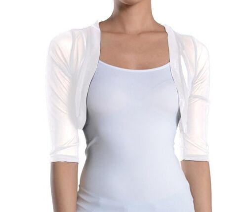 Fashion Secrets Women`s Sheer Bolero Mesh Chiffon Shrug Jacket Cardigan 3//4 slv