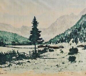 Hans-Schindler-1907-tolle-Radierung-auf-Seide-HUTTEN-IM-TAL-ZWISCHEN-BERGEN