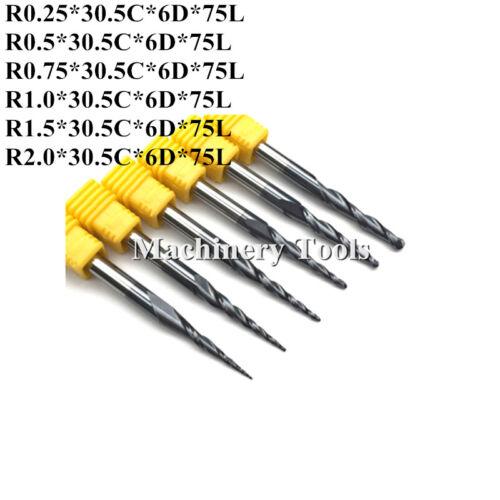 HRC55 R0.25//R0.5//R0.75//R1.0//R1.5//R2.0 Taper Ball Nose End Mill Carbide Cone Bits