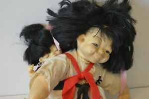 Mieler Vintage Mother Carrying Child Doll Set Hong Kong Toy Collectible Karate