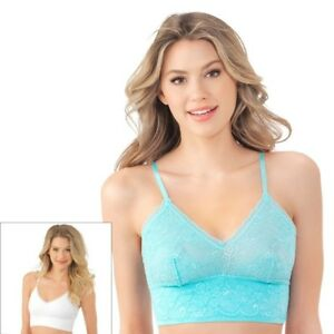 eb5819b4f3 Details about Lily of France Bras Sensational 2-pack Lace Bralettes 2179106  Aqua   White Large