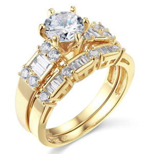 2.75 Ct Round Cut Engagement Wedding Ring Set Real 14K Yellow Gold Matching Band