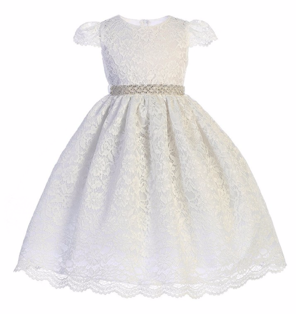 Exquisite White Lace Flower Girl Party Pageant Dress, Crayon Kids USA