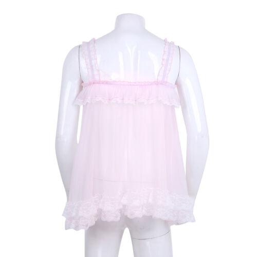 Men Lace Sissy Sleepwear Sheer Baby Doll Pajamas Dress Tulle Ruffles Nightwear