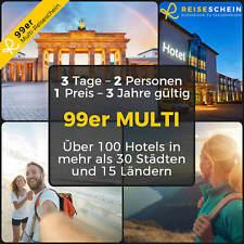 99er MULTI-HOTEL GUTSCHEIN - 3 Tage Kurzurlaub 2Pers - REISESCHEIN GESCHENK TIPP