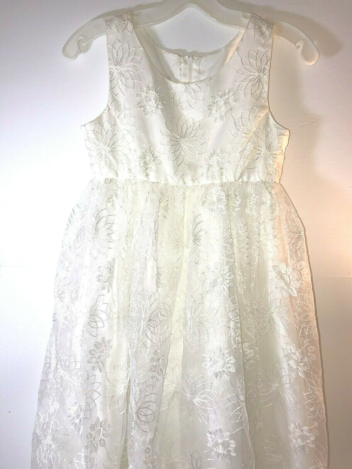 david bridal girls 14 ivory flower formal communion dress lace overly
