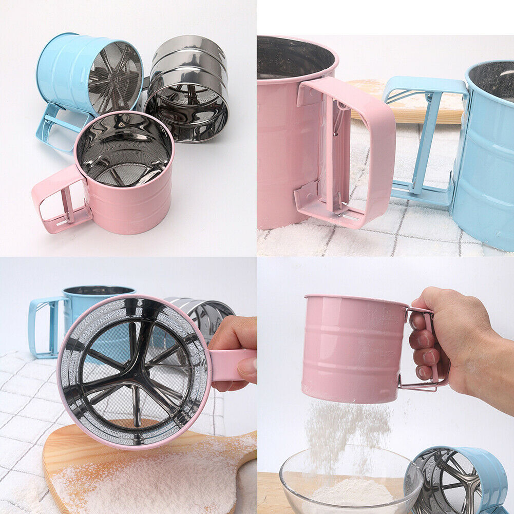 Stainless Steel Flour Sifter Cup Sifter Baking Sifter Handheld Semi Automatic Powdered Sugar Sieve