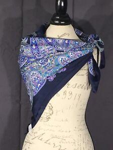 Purple-Scarf-Navy-Trim-Italian-Paisley-Vintage-Design-Gorgeous-Women-s-Clothing