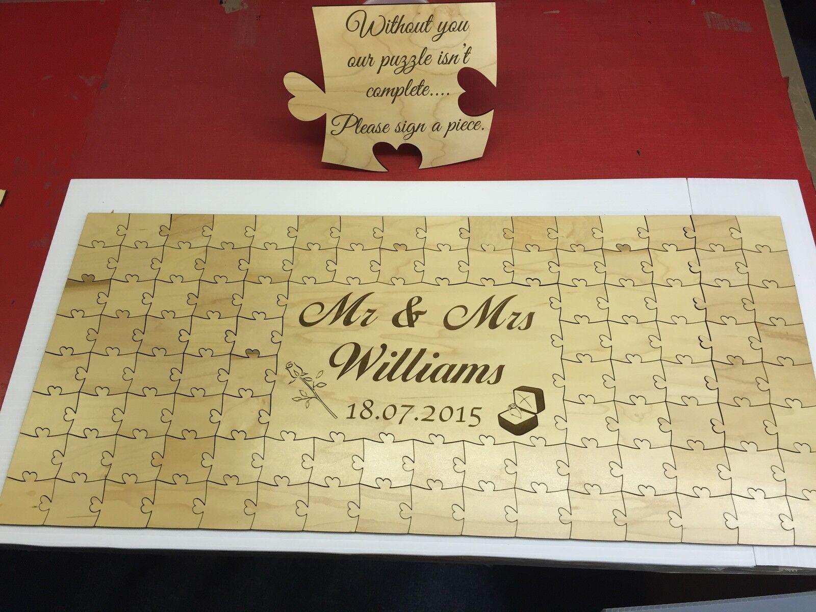 Luxury maplewood personalised wooden wedding guest book jigsaw puzzle keepsake