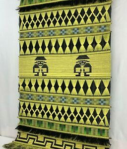 Mid-Century-Fiber-Art-Textile-Wall-Hanging-Vintage-South-American-HUGE-31-x-52-034