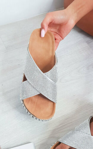 IKRUSH Womens Darcie Woven Flatform Diamante Sandals