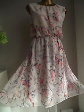 MONSOON NUDE TIGER LILY FLOATING LEAVES FLORAL SUMMER WEDDING FIT FLARE DRESS 18