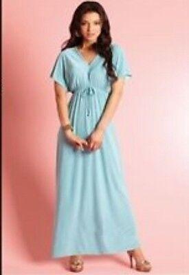 DRESS BY TG AQUA MAXI DRESS ANGEL WING DESIGN SUMMER BARGAIN LOVELY BEACH 10
