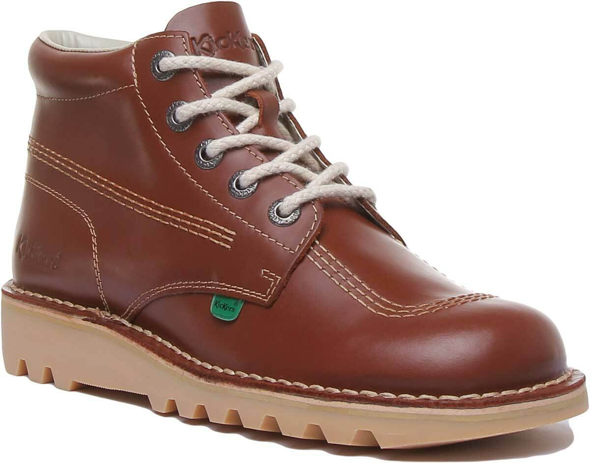 Kickers Kick Hi Mens Leather Casual Ankle Boots In Dark Tan UK Sizes 6 - 12