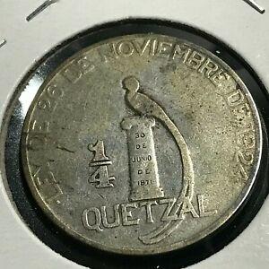 1925-GUATEMALA-SILVER-1-4-QUETZAL-NICE-COIN
