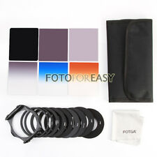 6pcs ND2 4 8 Gradual Grey Orange Blue Filter Kit + 9pcs Ring Adapter for Cokin P