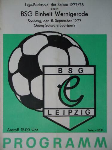 Programm 1977//78 BSG Chemie Leipzig Einheit Wernigerode