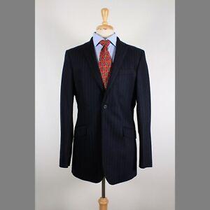 Banana-Republic-42L-Navy-Stripe-Wool-Blend-2B-Sport-Coat-Blazer-Suit-Jacket-93-P