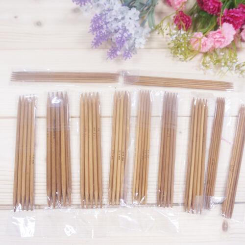 55Pcs 11 Taille 5/'/'13cm double pointes carbonisé bambou aiguille à tricoter durable