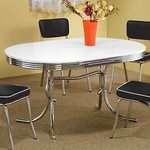 Vintage Chrome Dining Table Only Retro Metal Oval 1950 1960s Style Kitchen
