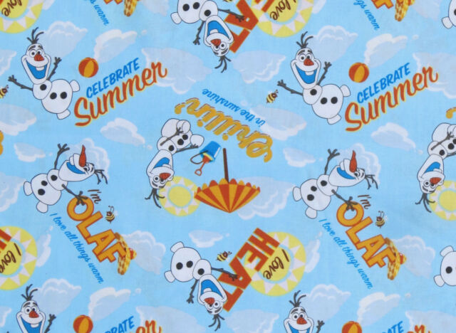 """30"""" REMNANT OLAF CHILLIN IN SUNSHINE DISNEY FROZEN FABRIC SISTERS FOREVER COTTON"""
