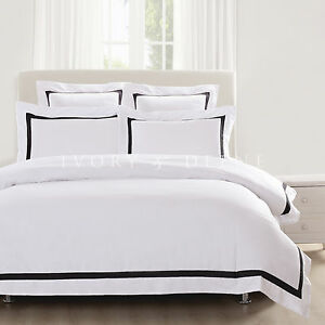 Image Is Loading White Quilt Cover Queen Size Black Trim Doona