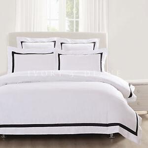 WHITE QUILT COVER Queen Size Black Trim Doona Duvet Cover Set NEW ... : white quilt cover queen - Adamdwight.com