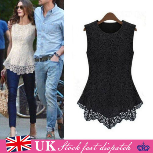 Womens Casual Sleeveless Top Vest Blouse Ladies Summer Shirt Lace Tops Size 8-20