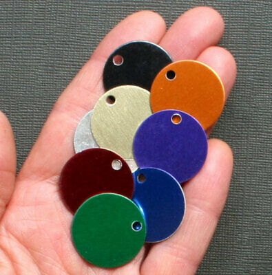 """10 Round Stamping Tags Anodized Aluminum Blue 1/"""" Round MT044"""
