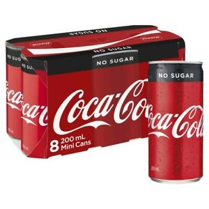 Coca-Cola-No-Sugar-Coke-Mini-Multipack-Cans-200mL-8-pack