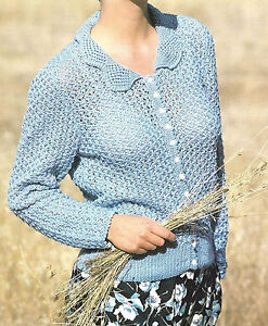 LADIES CARDIGAN KNITTING PATTERN 32/42 INCH 4 PLY CREPE (909) eBay