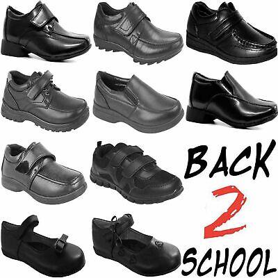 SCHOOL SHOES  BOYS BLACK SMART DRESS SHOES KIDS TRAINERS FORMAL