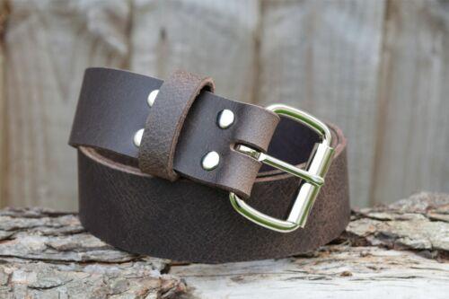 Christopher Piero Handmade Brown Real Leather Belt 1 3//4 in Roller Buckle