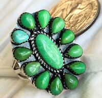 Native American Zuni Petite Point Royston Green Turquoise Sterling Silver Ring 8