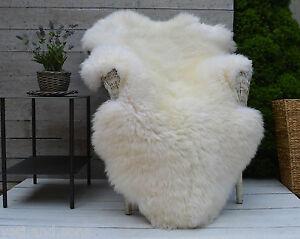 Blanc-De-Luxe-et-Ivoire-Tapis-Peau-De-Mouton-Couverture-PLUS-GRAND-tailles-XL