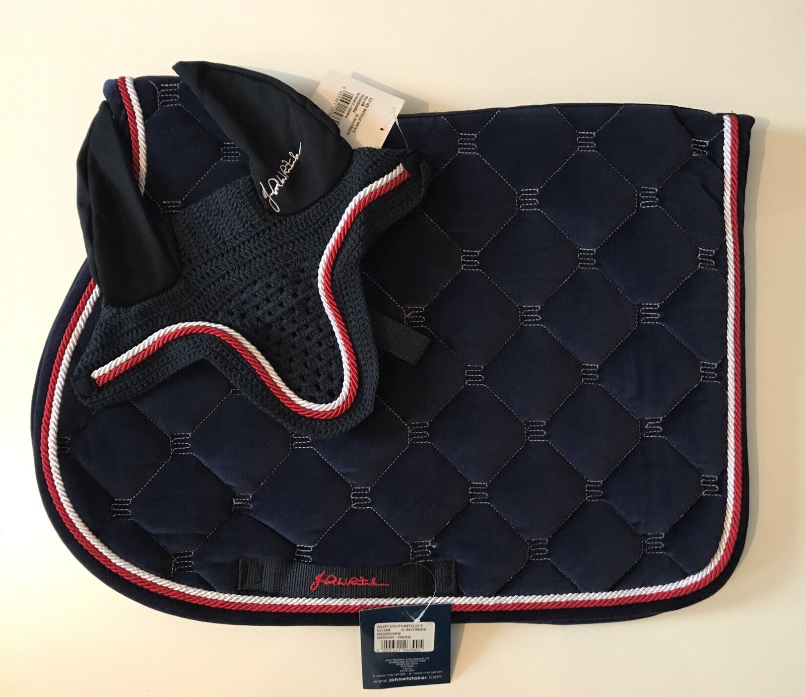 John Whitaker Métallique Velours Kitsh Kitsh Set-SADDLEPAD-Fly Veil-Full, navy-FPP