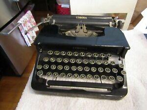 Vintage Corona Standard Manual Portable Typewriter w Case LC Smith Floating 30s